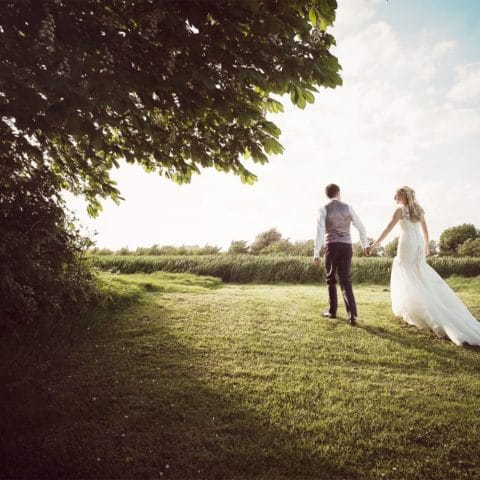 bride and groom hand in hand looking over green fields on a summers day